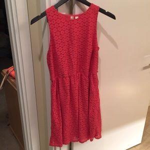 Tacera large red orange lace overlay dress